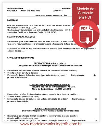 Modelo de Currículo em PDF Vazio