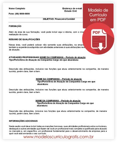 Modelo de Currículo Preenchido em PDF