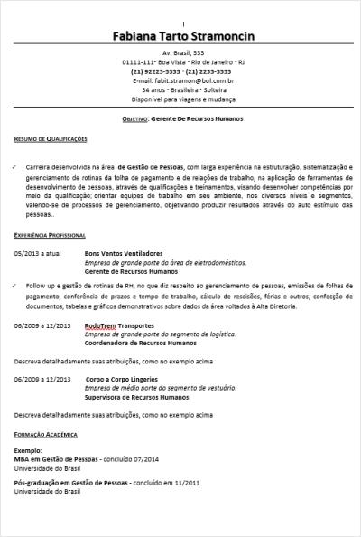 Modelo de Currículo 03 – Preenchido