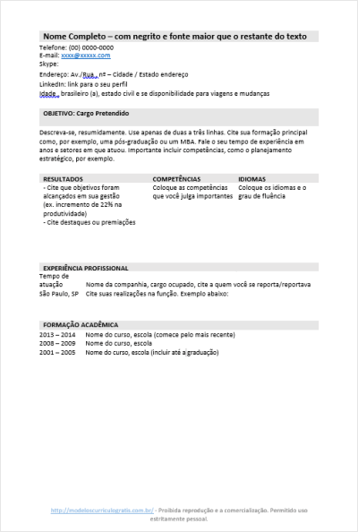 Modelo de Currículo Pronto para Preencher